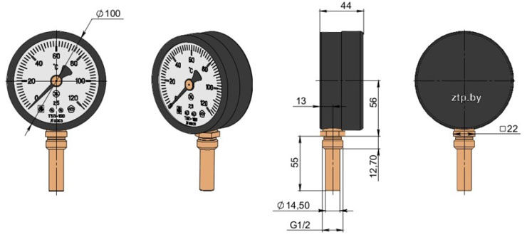 Термометр биметаллический показывающий ТБП100Р
