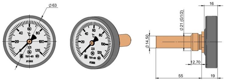 Термометр биметаллический показывающий ТБП63Т3