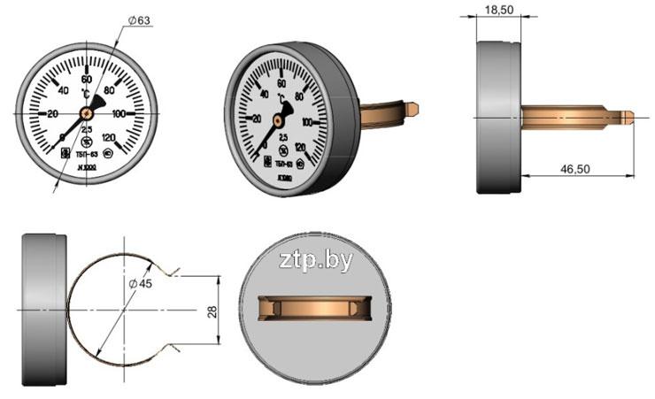 Термометр биметаллический показывающий ТБП63Тр50